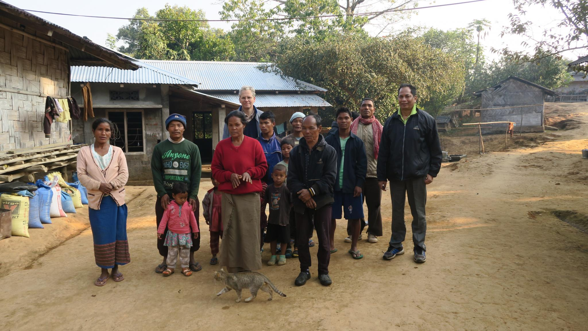 Residents of Rongkinggre village, Daniel Ingty (right, Meghalaya Basin Development Authority) and Erik de Maaker (rear). Rongkinggre can become part of the proposed Garo Hills Conservation Area